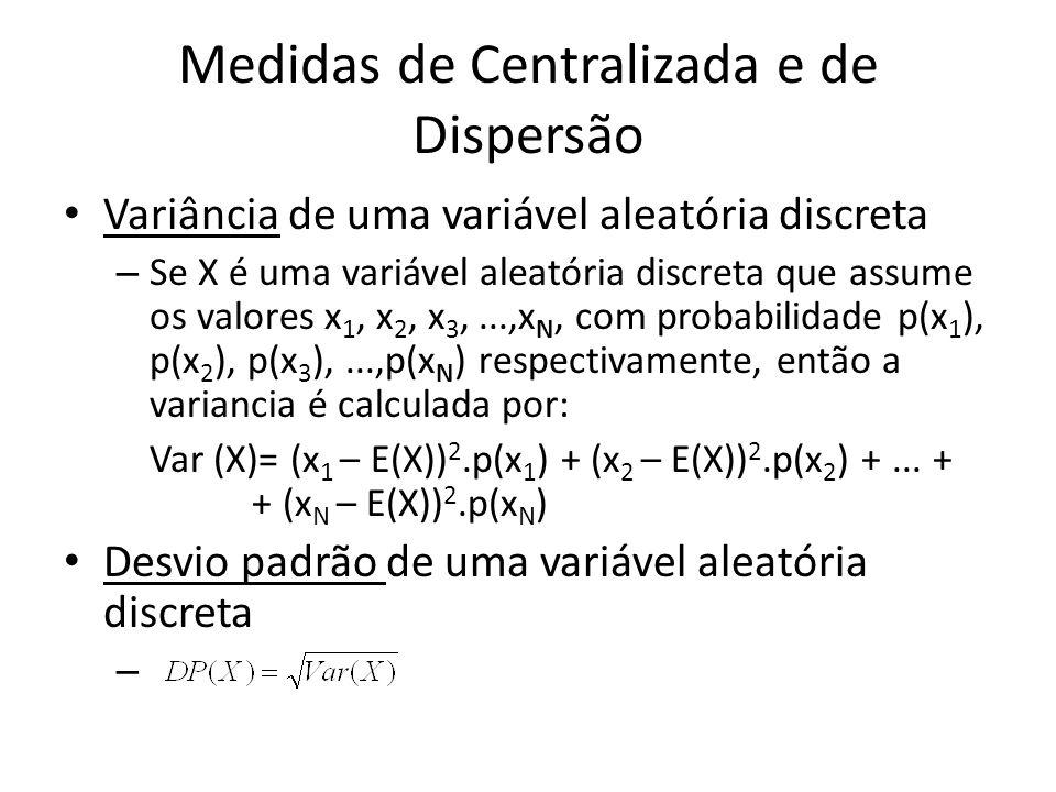 Medidas de Centralizada e de Dispersão Variância de uma variável aleatória discreta – Se X é uma variável aleatória discreta que assume os valores x 1