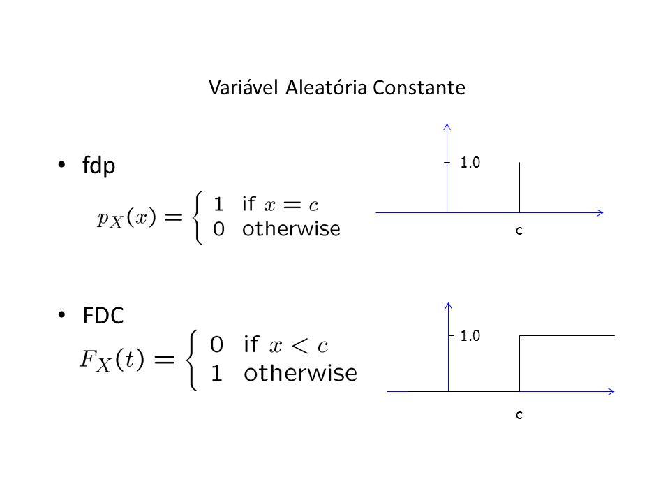 Variável Aleatória Constante fdp FDC c 1.0 c