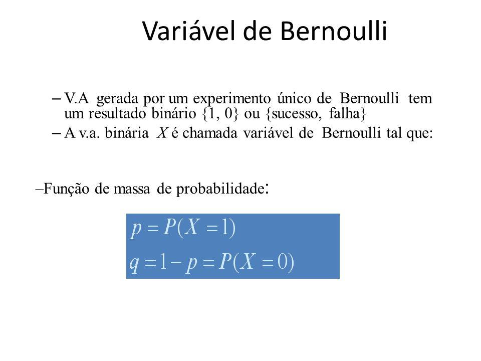 Variável de Bernoulli – V.A gerada por um experimento único de Bernoulli tem um resultado binário {1, 0} ou {sucesso, falha} – A v.a. binária X é cham