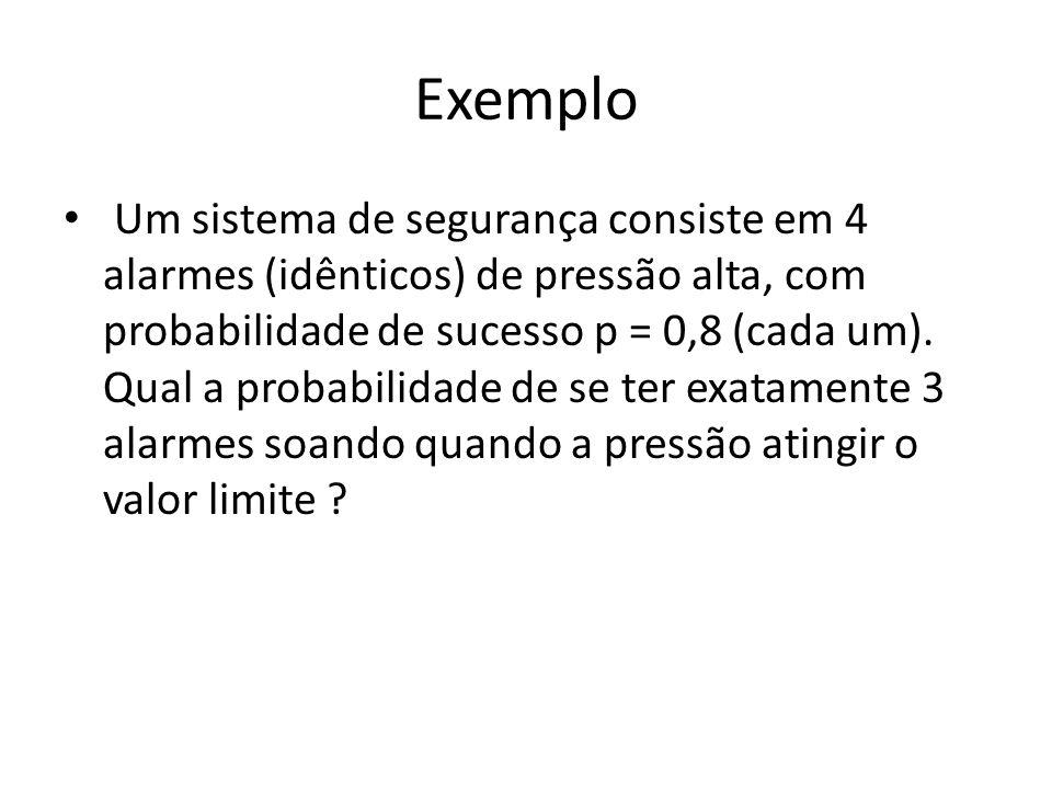 Exemplo Um sistema de segurança consiste em 4 alarmes (idênticos) de pressão alta, com probabilidade de sucesso p = 0,8 (cada um). Qual a probabilidad