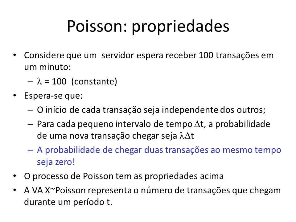Poisson: propriedades Considere que um servidor espera receber 100 transações em um minuto: – = 100 (constante) Espera-se que: – O início de cada tran