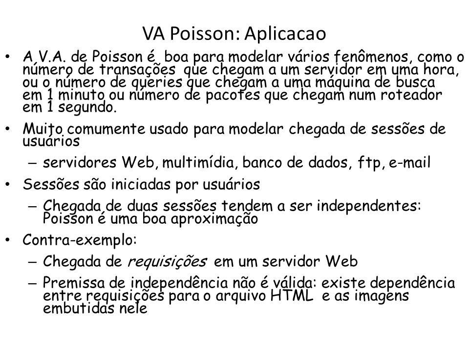 VA Poisson: Aplicacao A V.A. de Poisson é boa para modelar vários fenômenos, como o número de transações que chegam a um servidor em uma hora, ou o nú