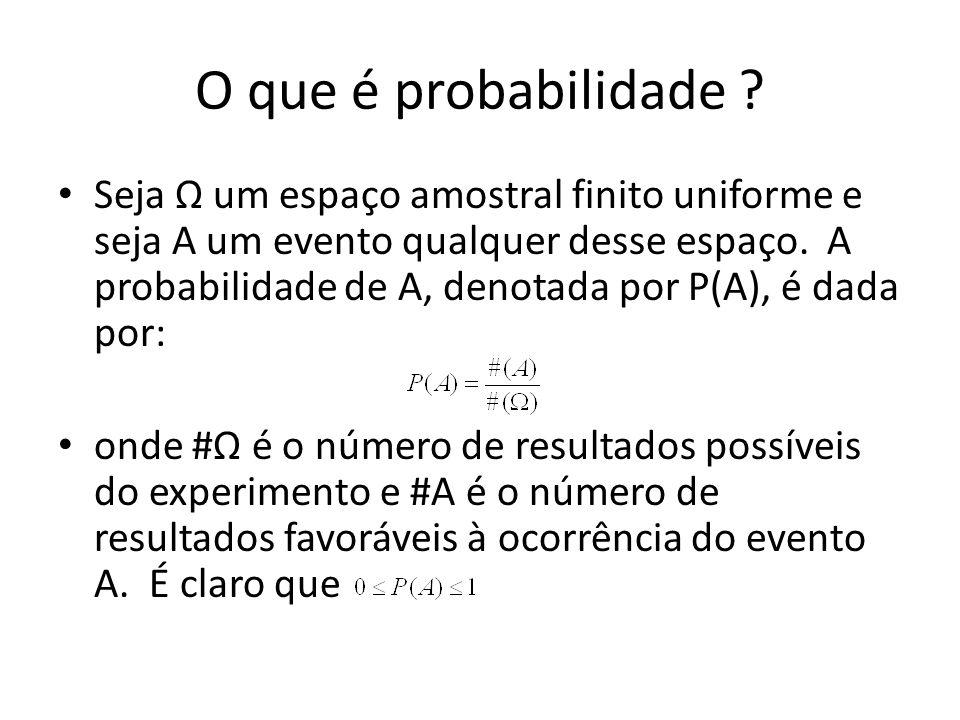 O que é probabilidade ? Seja Ω um espaço amostral finito uniforme e seja A um evento qualquer desse espaço. A probabilidade de A, denotada por P(A), é