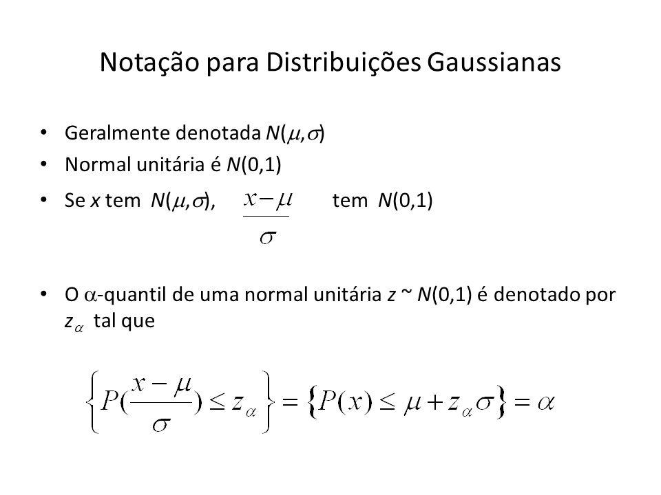 Notação para Distribuições Gaussianas Geralmente denotada N(, ) Normal unitária é N(0,1) Se x tem N(, ), tem N(0,1) O -quantil de uma normal unitária