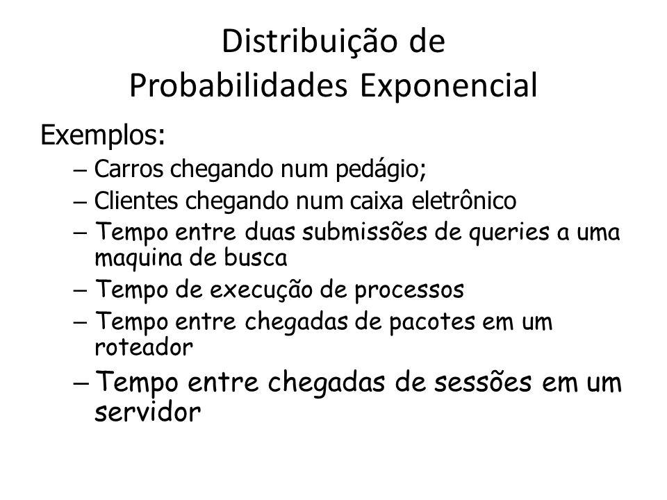 Distribuição de Probabilidades Exponencial Exemplos: – Carros chegando num pedágio; – Clientes chegando num caixa eletrônico – Tempo entre duas submis