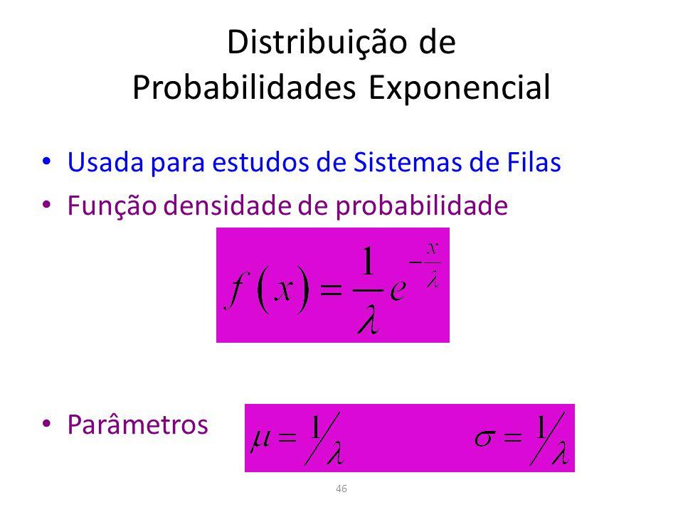 46 Distribuição de Probabilidades Exponencial Usada para estudos de Sistemas de Filas Função densidade de probabilidade Parâmetros