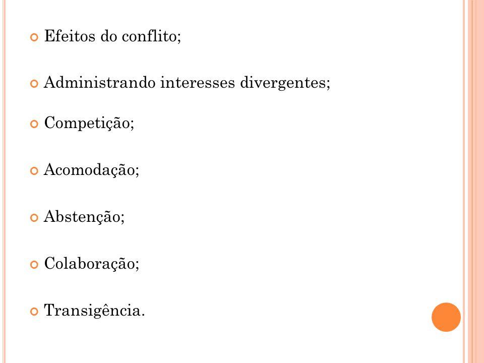 Efeitos do conflito; Administrando interesses divergentes; Competição; Acomodação; Abstenção; Colaboração; Transigência.
