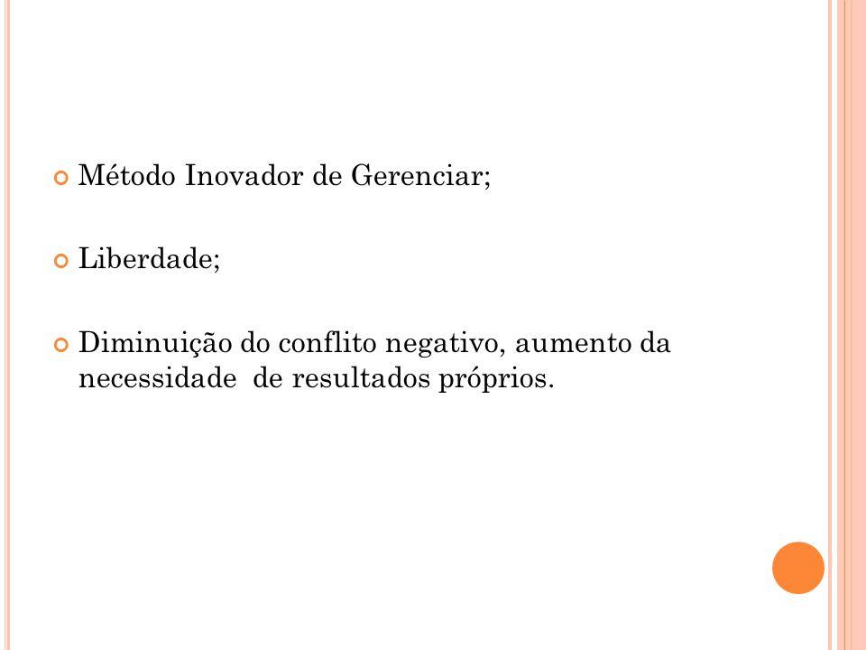 Método Inovador de Gerenciar; Liberdade; Diminuição do conflito negativo, aumento da necessidade de resultados próprios.