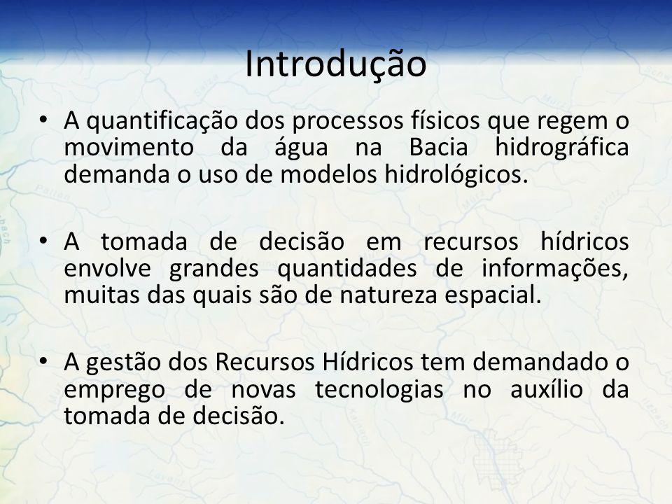 Principais dificuldades Complexidade dos modelos hidrológicos na operação de grandes volumes de dados espaciais; Processamento de grandes quantidades de informações para se chegar na solução do problema em análise.