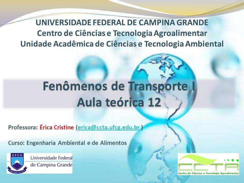 Professora: Érica Cristine (erica@ccta.ufcg.edu.br )erica@ccta.ufcg.edu.br Curso: Engenharia Ambiental e de Alimentos UNIVERSIDADE FEDERAL DE CAMPINA GRANDE Centro de Ciências e Tecnologia Agroalimentar Unidade Acadêmica de Ciências e Tecnologia Ambiental Fenômenos de Transporte I Aula teórica 12 1