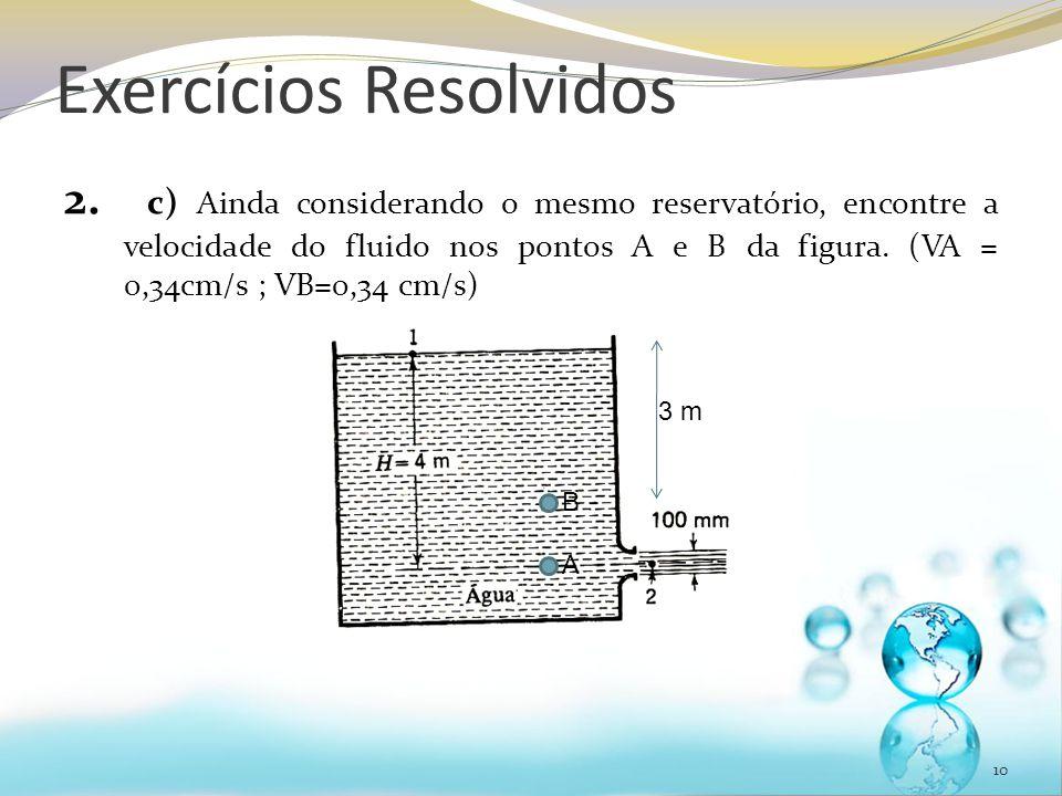 Exercícios Resolvidos 2. c) Ainda considerando o mesmo reservatório, encontre a velocidade do fluido nos pontos A e B da figura. (VA = 0,34cm/s ; VB=0