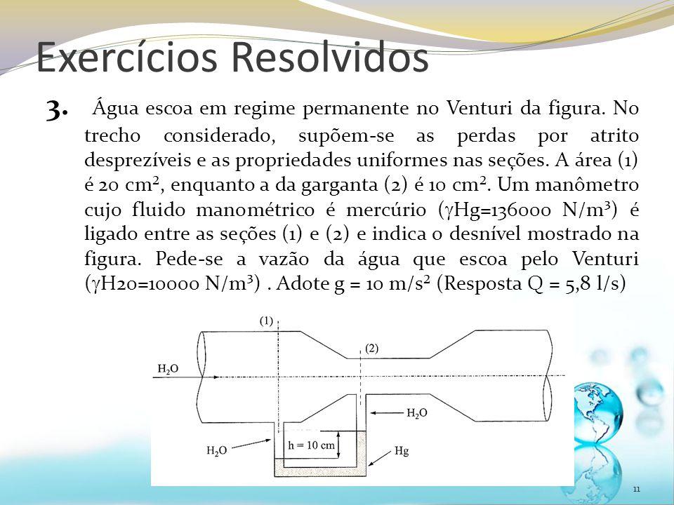 Exercícios Resolvidos 3. Água escoa em regime permanente no Venturi da figura. No trecho considerado, supõem-se as perdas por atrito desprezíveis e as