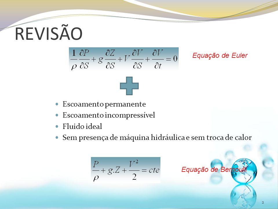 REVISÃO 2 Escoamento permanente Escoamento incompressível Fluido ideal Sem presença de máquina hidráulica e sem troca de calor Equação de Euler Equação de Bernoulli
