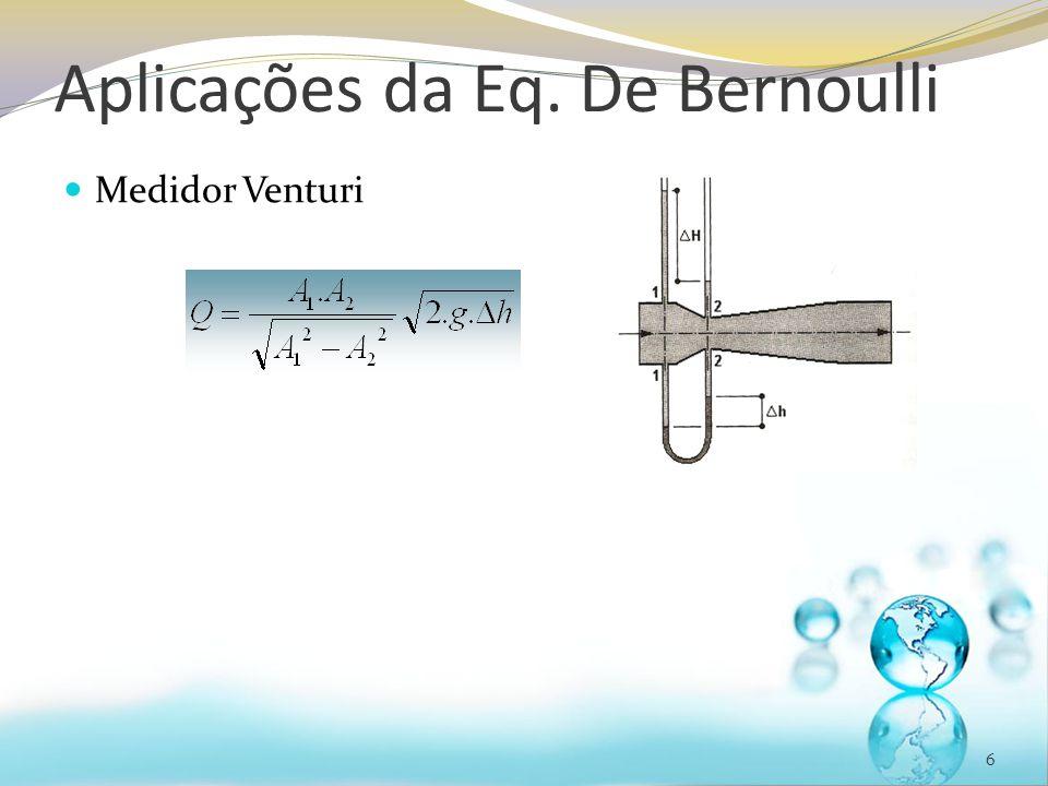 Aplicações da Eq. De Bernoulli Medidor Venturi 6