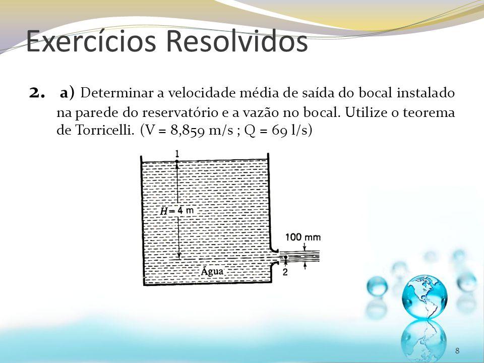 Exercícios Resolvidos 2. a) Determinar a velocidade média de saída do bocal instalado na parede do reservatório e a vazão no bocal. Utilize o teorema