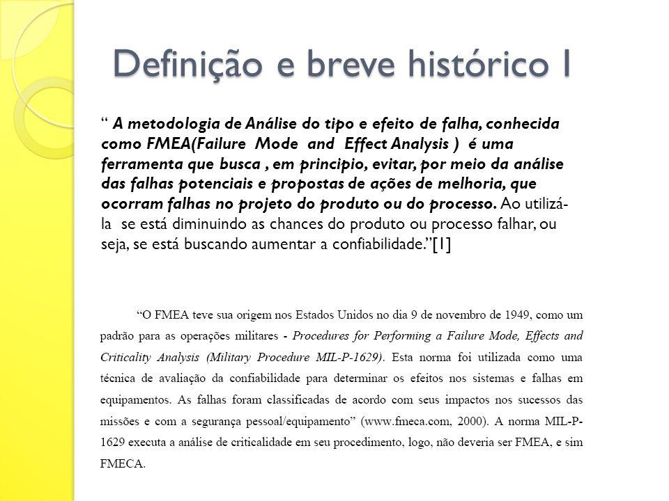 Definição e breve histórico I A metodologia de Análise do tipo e efeito de falha, conhecida como FMEA(Failure Mode and Effect Analysis ) é uma ferrame