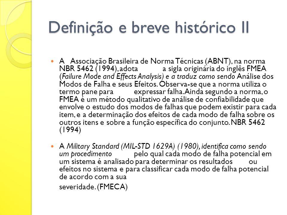 Definição e breve histórico II A Associação Brasileira de Norma Técnicas (ABNT), na norma NBR 5462 (1994), adotaa sigla originária do inglês FMEA (Fai