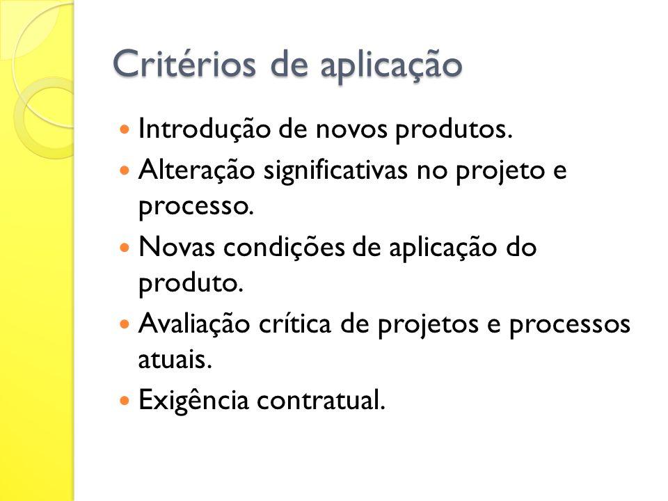 Critérios de aplicação Introdução de novos produtos. Alteração significativas no projeto e processo. Novas condições de aplicação do produto. Avaliaçã