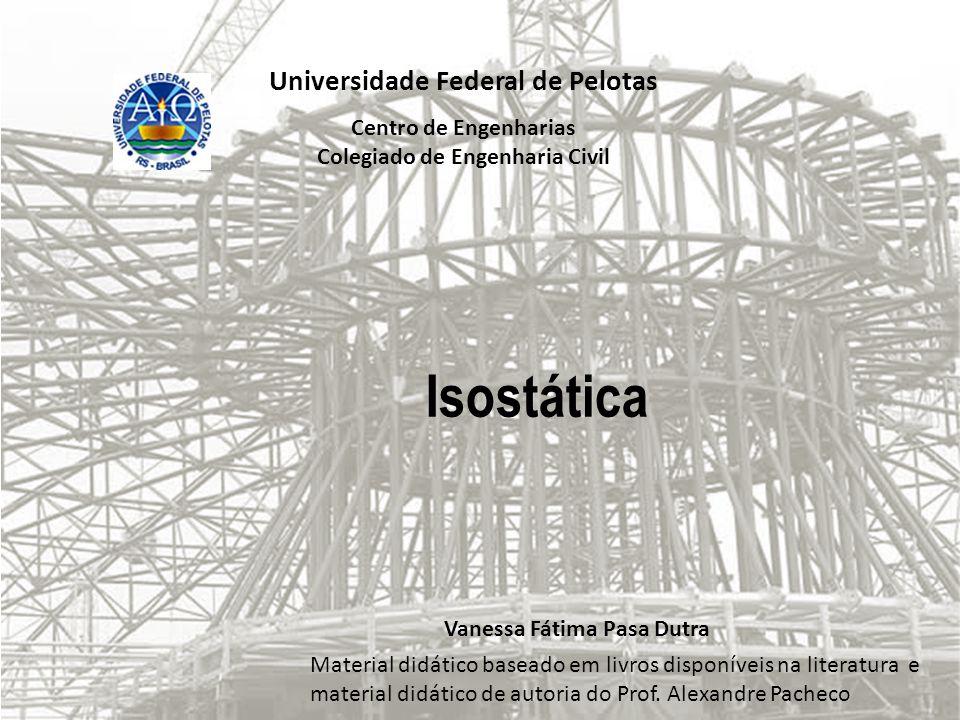Universidade Federal de Pelotas Centro de Engenharias Colegiado de Engenharia Civil Isostática Vanessa Fátima Pasa Dutra Material didático baseado em