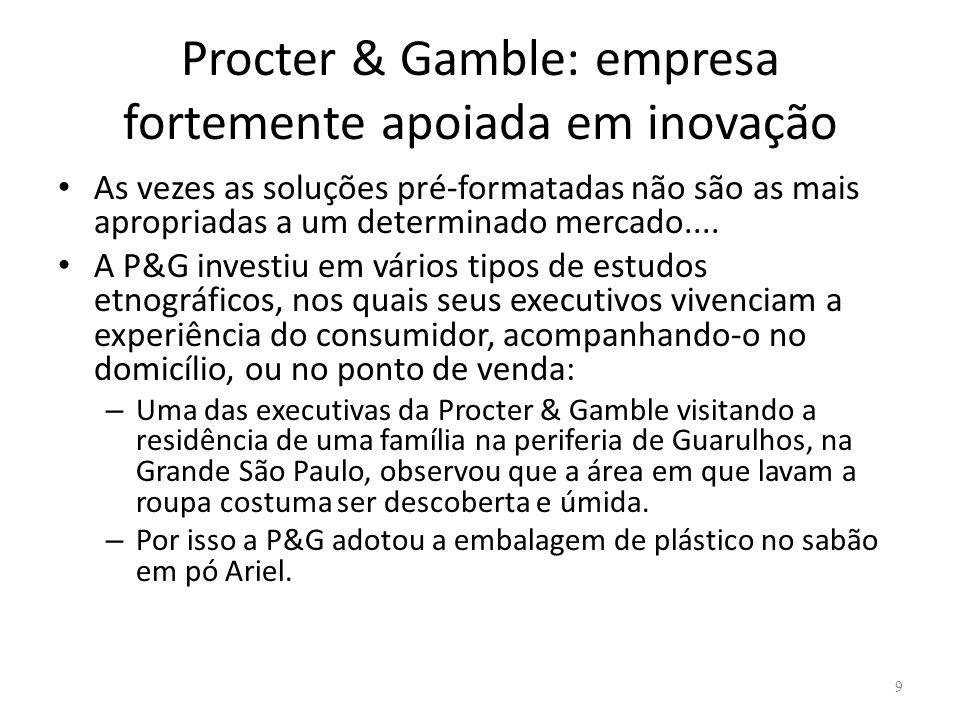Procter & Gamble: empresa fortemente apoiada em inovação As vezes as soluções pré-formatadas não são as mais apropriadas a um determinado mercado....