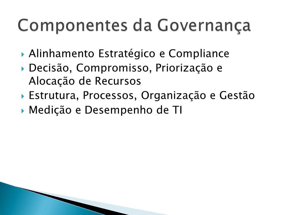 Alinhamento Estratégico e Compliance Princípios de TI (definição de Políticas) Necessidades de Aplicações (informações e conhecimentos) ERP, CRM, SCM BI Tecnologias diversas (RFID, biometria, etc) Arquitetura de TI (padrões de processos, dados e aplicações) Infraestrutura de TI Objetivos de Desempenho Capacidade de Atendimento Política de Segurança da Informação Competências