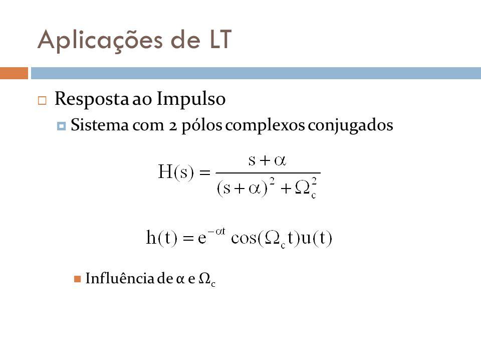 Aplicações de LT Resposta a Sinal Genérico Transitório N -1 (s)/D(s) semiplano esquerdo real Assumindo pólos no semiplano esquerdo real Sistema BIBO Regime permanente ILT{N x -1 (s)/D x (s)} é estacionário