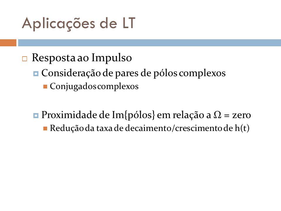 Aplicações de LT Resposta ao Impulso semiplano esquerdo aberto Um sistema LTI é estável se todos os seus pólos se localizarem no semiplano esquerdo aberto do plano complexo s Re{s p }<0