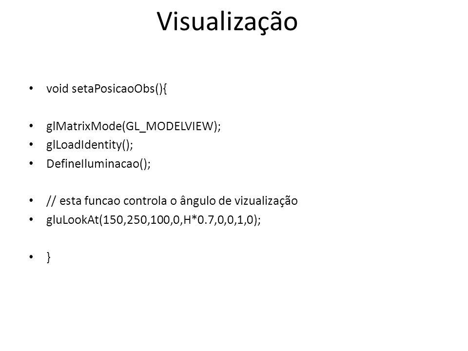 void setaPosicaoObs(){ glMatrixMode(GL_MODELVIEW); glLoadIdentity(); DefineIluminacao(); // esta funcao controla o ângulo de vizualização gluLookAt(150,250,100,0,H*0.7,0,0,1,0); } Visualização