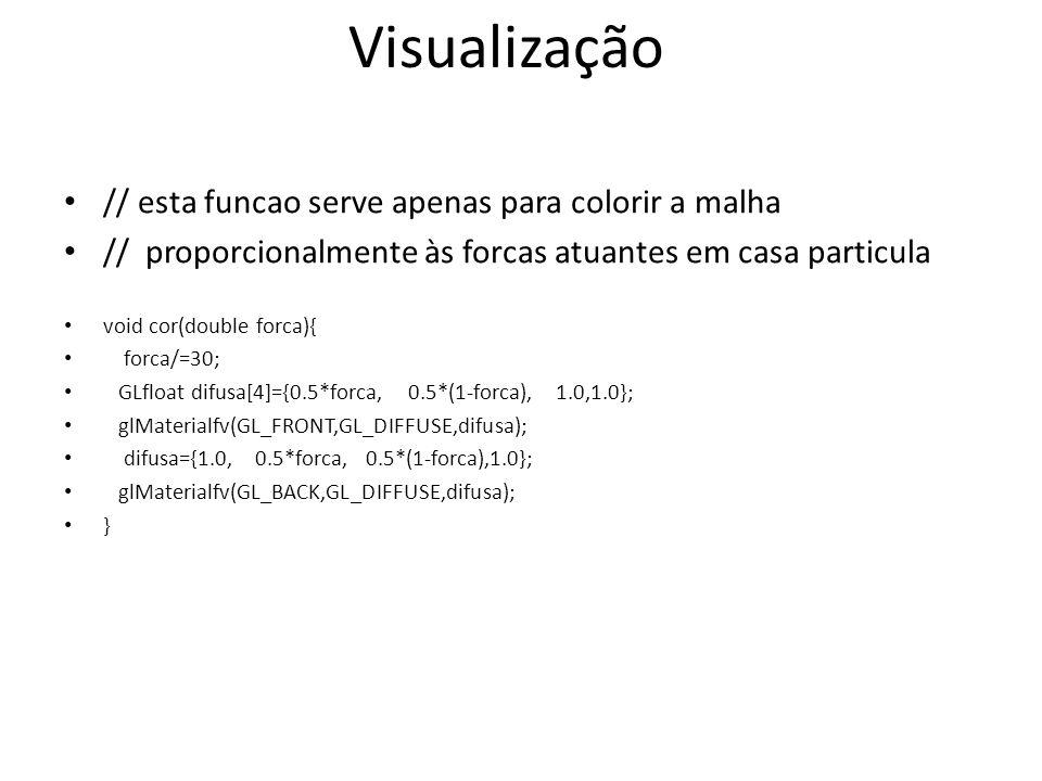 // esta funcao serve apenas para colorir a malha // proporcionalmente às forcas atuantes em casa particula void cor(double forca){ forca/=30; GLfloat difusa[4]={0.5*forca, 0.5*(1-forca), 1.0,1.0}; glMaterialfv(GL_FRONT,GL_DIFFUSE,difusa); difusa={1.0, 0.5*forca, 0.5*(1-forca),1.0}; glMaterialfv(GL_BACK,GL_DIFFUSE,difusa); } Visualização