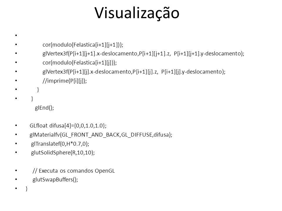 cor(modulo(Felastica[i+1][j+1])); glVertex3f(P[i+1][j+1].x-deslocamento,P[i+1][j+1].z, P[i+1][j+1].y-deslocamento); cor(modulo(Felastica[i+1][j])); glVertex3f(P[i+1][j].x-deslocamento,P[i+1][j].z, P[i+1][j].y-deslocamento); //imprime(P[i][j]); } glEnd(); GLfloat difusa[4]={0,0,1.0,1.0}; glMaterialfv(GL_FRONT_AND_BACK,GL_DIFFUSE,difusa); glTranslatef(0,H*0.7,0); glutSolidSphere(R,10,10); // Executa os comandos OpenGL glutSwapBuffers(); } Visualização
