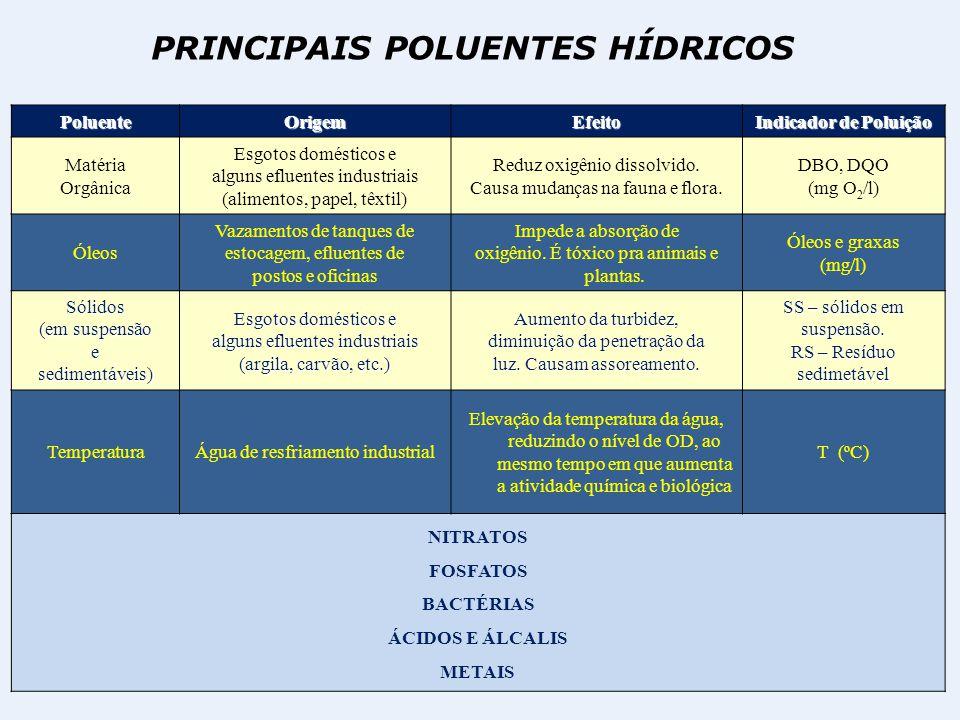 PRINCIPAIS POLUENTES HÍDRICOS PoluenteOrigemEfeito Indicador de Poluição Matéria Orgânica Esgotos domésticos e alguns efluentes industriais (alimentos