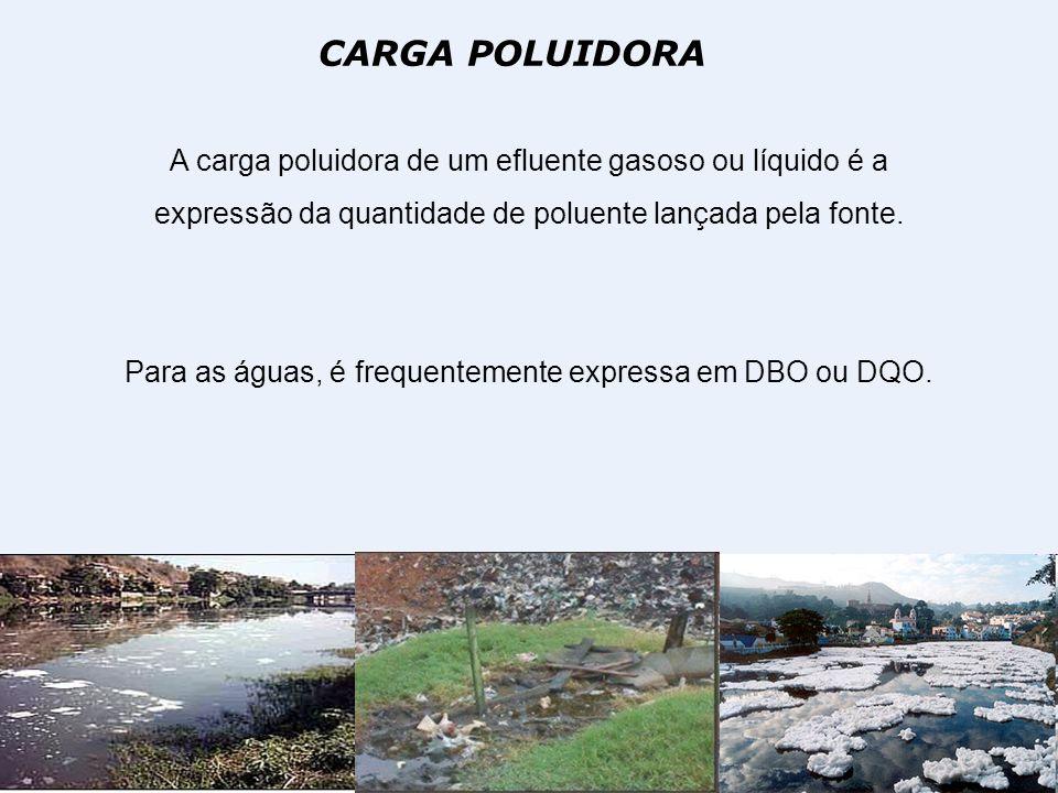 CARGA POLUIDORA A carga poluidora de um efluente gasoso ou líquido é a expressão da quantidade de poluente lançada pela fonte. Para as águas, é freque