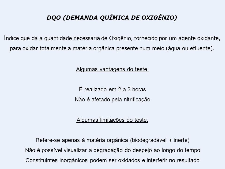 DQO (DEMANDA QUÍMICA DE OXIGÊNIO) Índice que dá a quantidade necessária de Oxigênio, fornecido por um agente oxidante, para oxidar totalmente a matéri