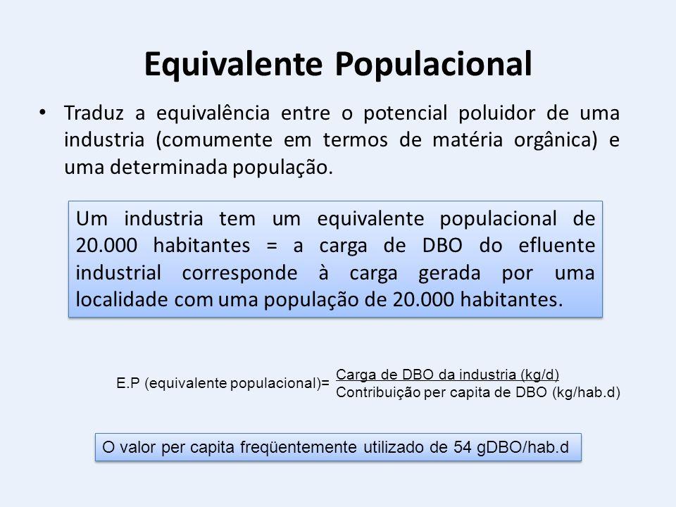 Equivalente Populacional Traduz a equivalência entre o potencial poluidor de uma industria (comumente em termos de matéria orgânica) e uma determinada