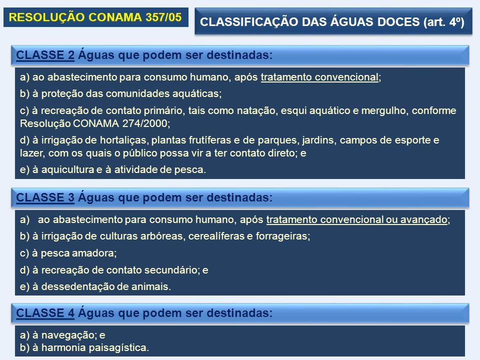 CLASSE 2 Águas que podem ser destinadas: a) ao abastecimento para consumo humano, após tratamento convencional; b) à proteção das comunidades aquática