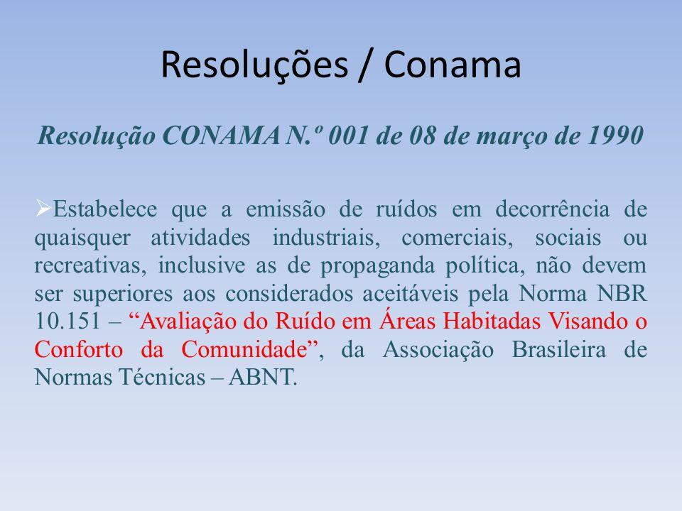 Resoluções / Conama Resolução CONAMA N.º 001 de 08 de março de 1990 Estabelece que a emissão de ruídos em decorrência de quaisquer atividades industri