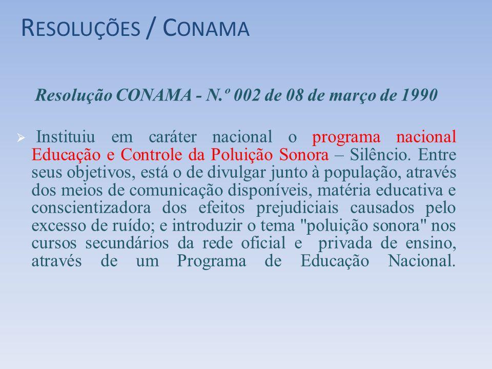 R ESOLUÇÕES / C ONAMA Resolução CONAMA - N.º 002 de 08 de março de 1990 Instituiu em caráter nacional o programa nacional Educação e Controle da Polui