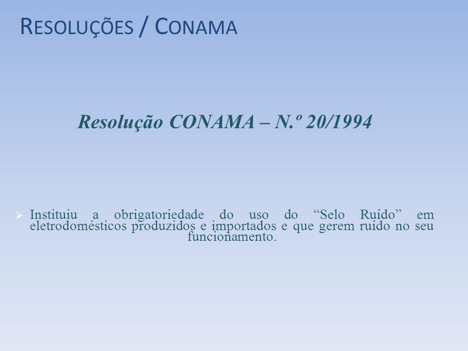 R ESOLUÇÕES / C ONAMA Resolução CONAMA – N.º 20/1994 Instituiu a obrigatoriedade do uso do Selo Ruído em eletrodomésticos produzidos e importados e qu