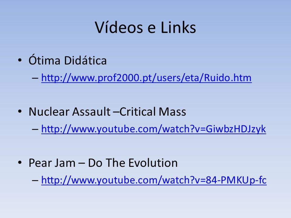 Vídeos e Links Ótima Didática – http://www.prof2000.pt/users/eta/Ruido.htm http://www.prof2000.pt/users/eta/Ruido.htm Nuclear Assault –Critical Mass –