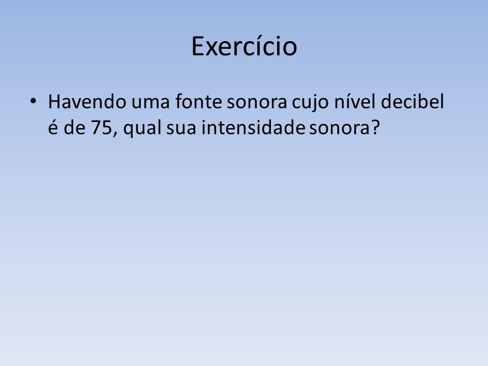 Exercício Havendo uma fonte sonora cujo nível decibel é de 75, qual sua intensidade sonora?