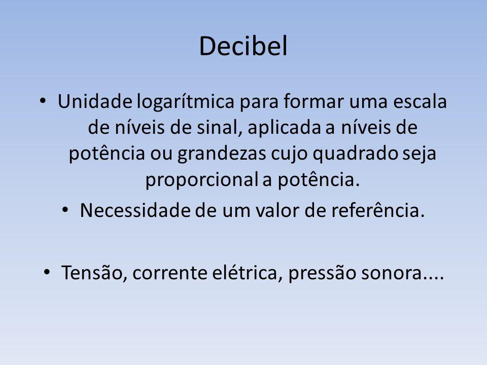 Decibel Unidade logarítmica para formar uma escala de níveis de sinal, aplicada a níveis de potência ou grandezas cujo quadrado seja proporcional a po