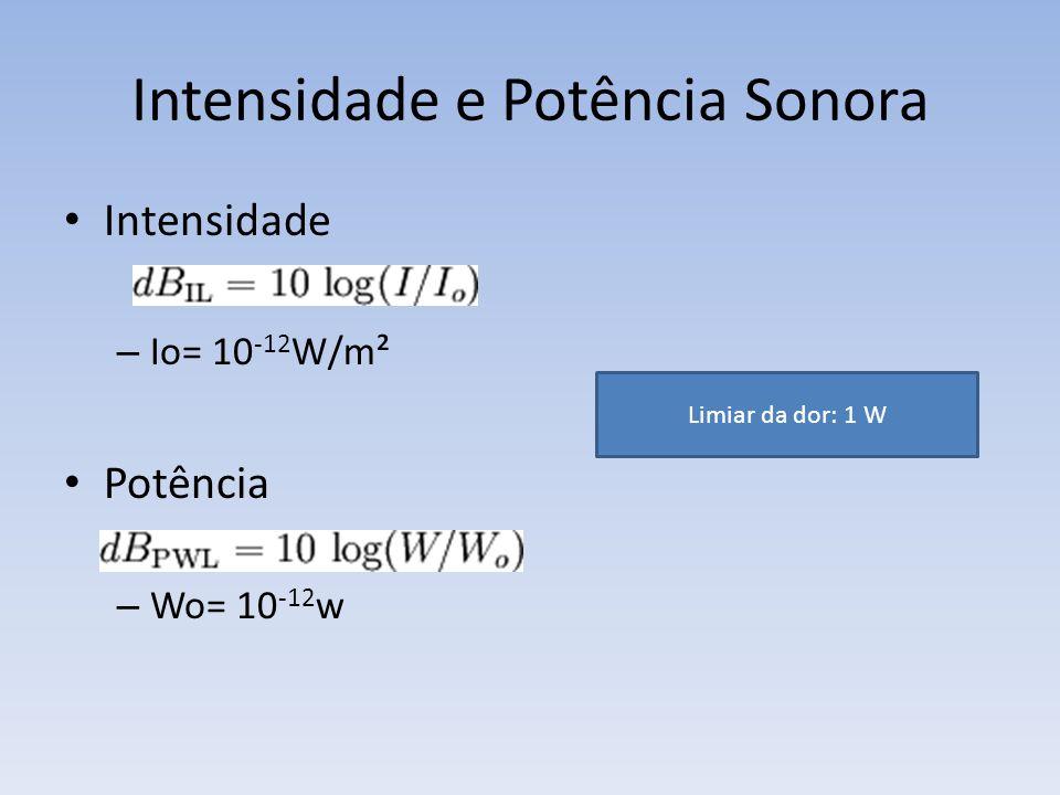 Intensidade e Potência Sonora Intensidade – Io= 10 -12 W/m² Potência – Wo= 10 -12 w Limiar da dor: 1 W