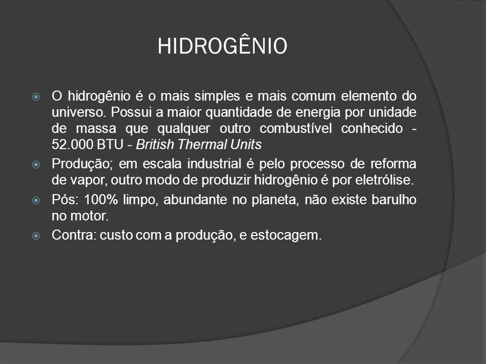 HIDROGÊNIO O hidrogênio é o mais simples e mais comum elemento do universo. Possui a maior quantidade de energia por unidade de massa que qualquer out