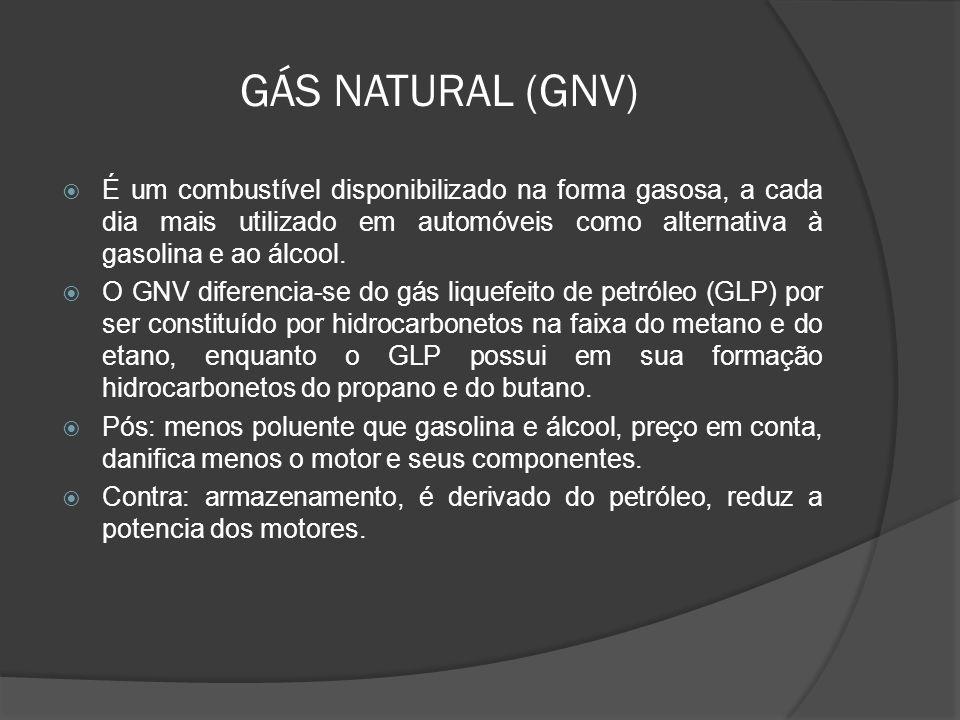 GÁS NATURAL (GNV) É um combustível disponibilizado na forma gasosa, a cada dia mais utilizado em automóveis como alternativa à gasolina e ao álcool. O
