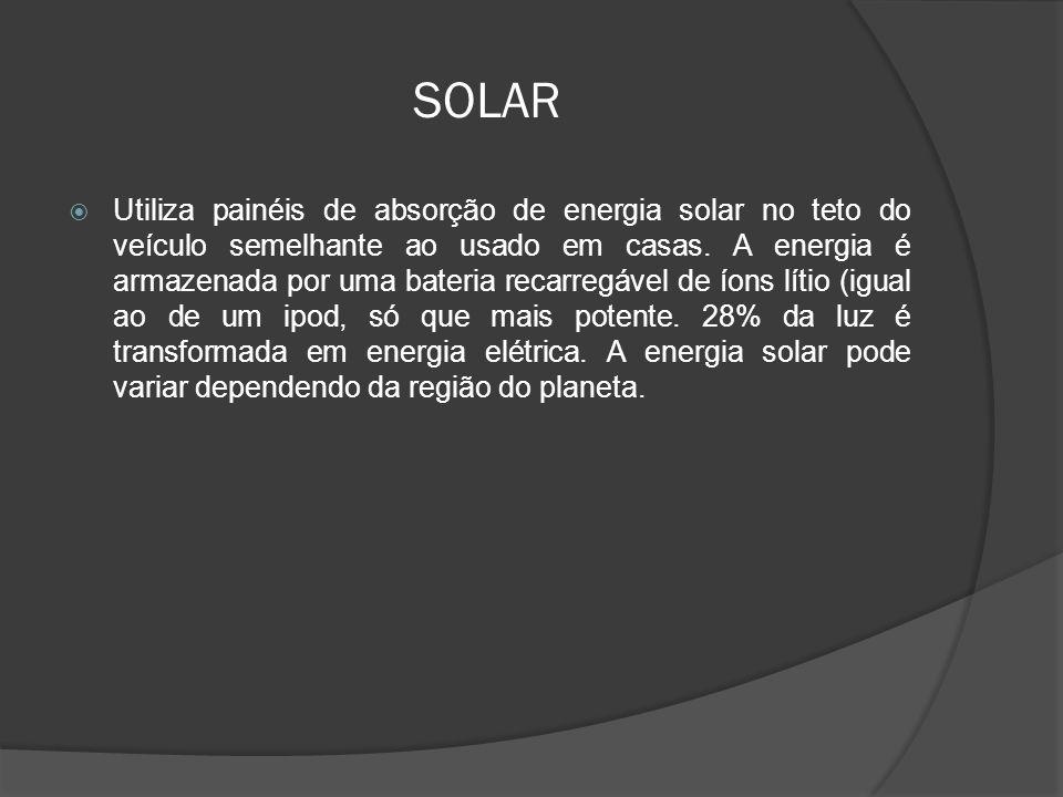 SOLAR Utiliza painéis de absorção de energia solar no teto do veículo semelhante ao usado em casas. A energia é armazenada por uma bateria recarregáve