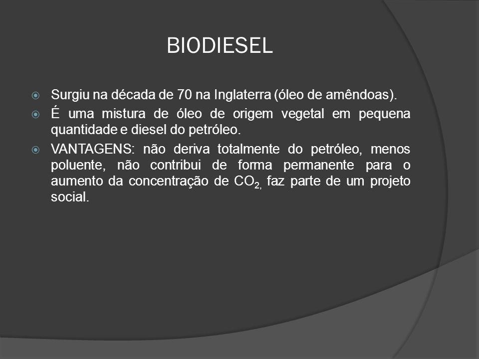 BIODIESEL Surgiu na década de 70 na Inglaterra (óleo de amêndoas). É uma mistura de óleo de origem vegetal em pequena quantidade e diesel do petróleo.