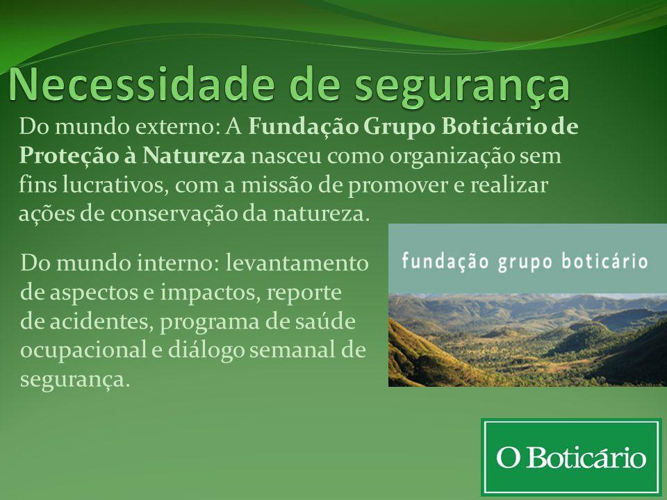 Do mundo externo: A Fundação Grupo Boticário de Proteção à Natureza nasceu como organização sem fins lucrativos, com a missão de promover e realizar a