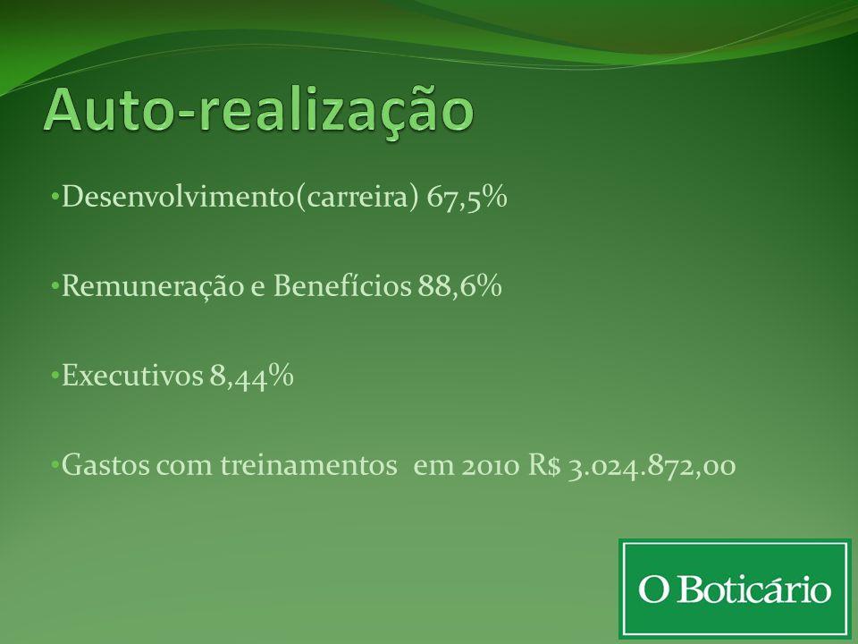 Desenvolvimento(carreira) 67,5% Remuneração e Benefícios 88,6% Executivos 8,44% Gastos com treinamentos em 2010 R$ 3.024.872,00