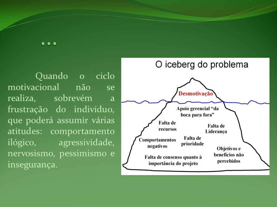 Quando o ciclo motivacional não se realiza, sobrevém a frustração do indivíduo, que poderá assumir várias atitudes: comportamento ilógico, agressivida
