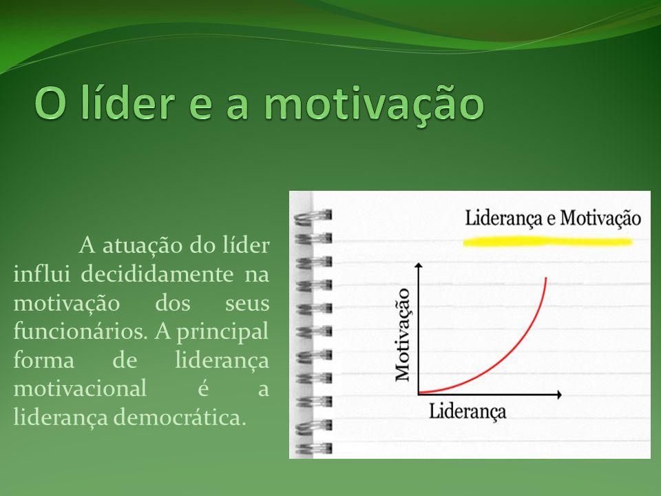 A atuação do líder influi decididamente na motivação dos seus funcionários. A principal forma de liderança motivacional é a liderança democrática.